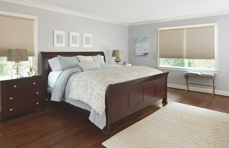 Tan shades in a Atlanta bedroom.