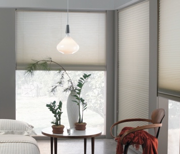 honeycomb shades in Atlanta space