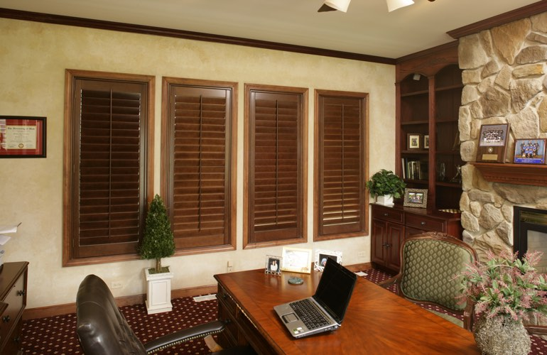 Hardwood plantation shutters in a Atlanta home office