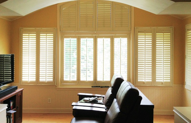 Atlanta plantation shutters in entertainment room