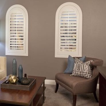 Atlanta family room plantation shutters.