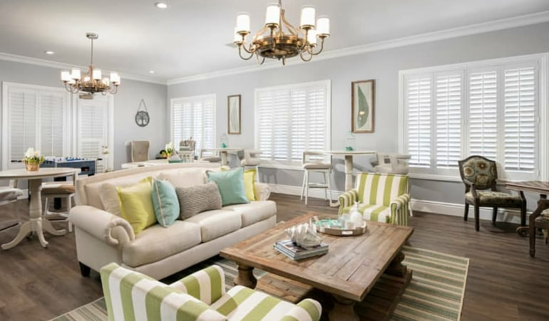 Plantation shutters in a great room