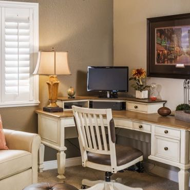 Atlanta home office interior shutters.