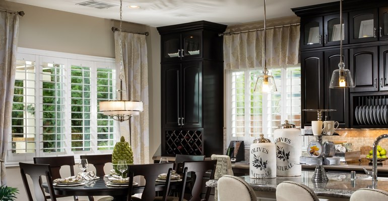 Atlanta kitchen dining room with plantation shutters.
