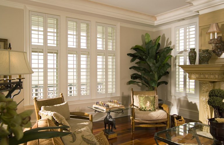 Living Room in Atlanta with polywood plantation shutters.