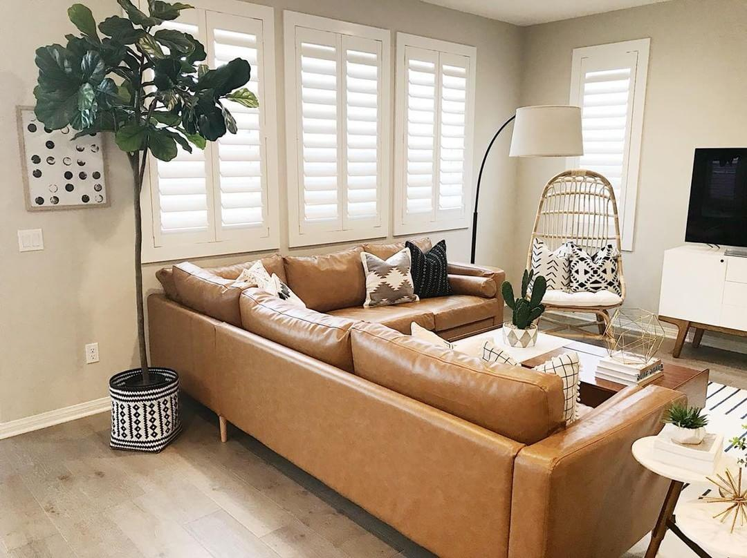 Comfortable living room with our Polywood shutters in Atlanta.