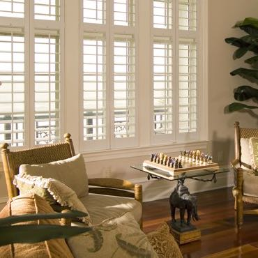 Atlanta living room interior shutters.