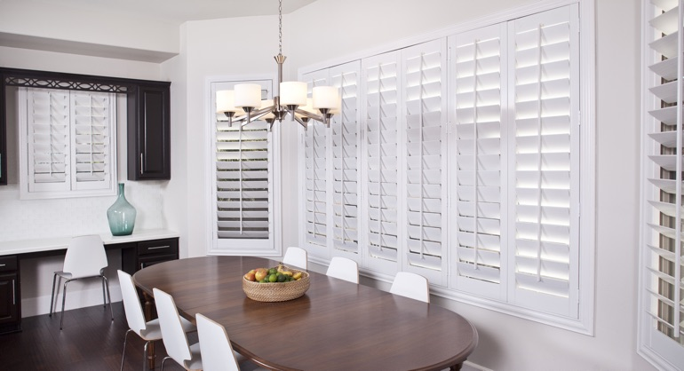 classic shutters in Atlanta dining room