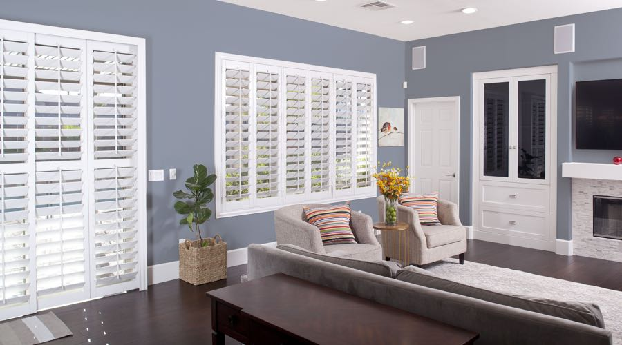 Faux Wood Shutters In pretty Atlanta Living Room