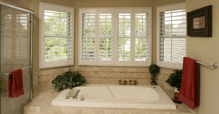 Plantation shutters in Atlanta bathroom.