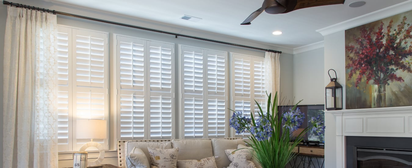 Polywood shutters in a living room.