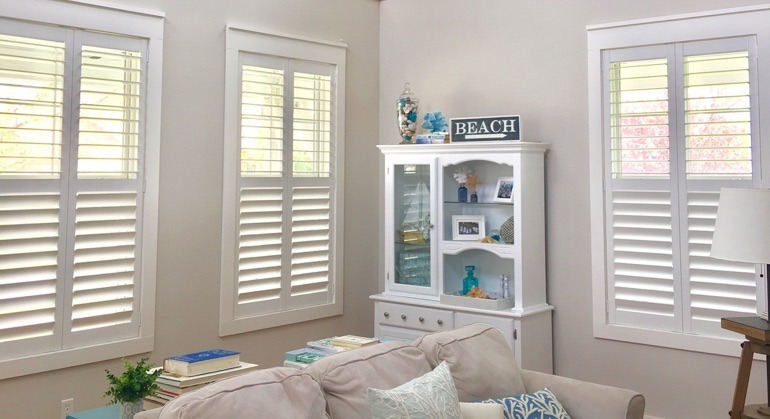 Polywood shutters in Atlanta living room