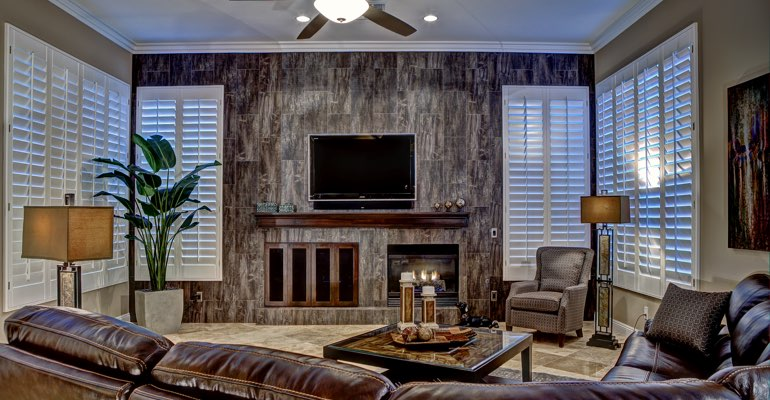 Atlanta living room with shutters