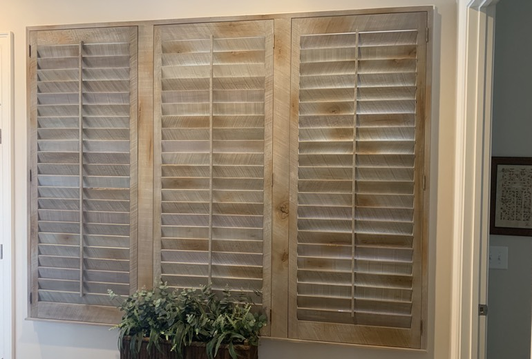 Closed reclaimed wood shutters in Atlanta