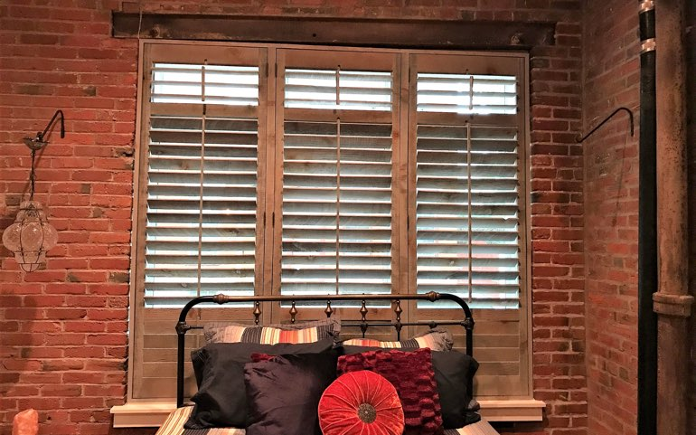 repurposed wood shutters in Atlanta bedroom