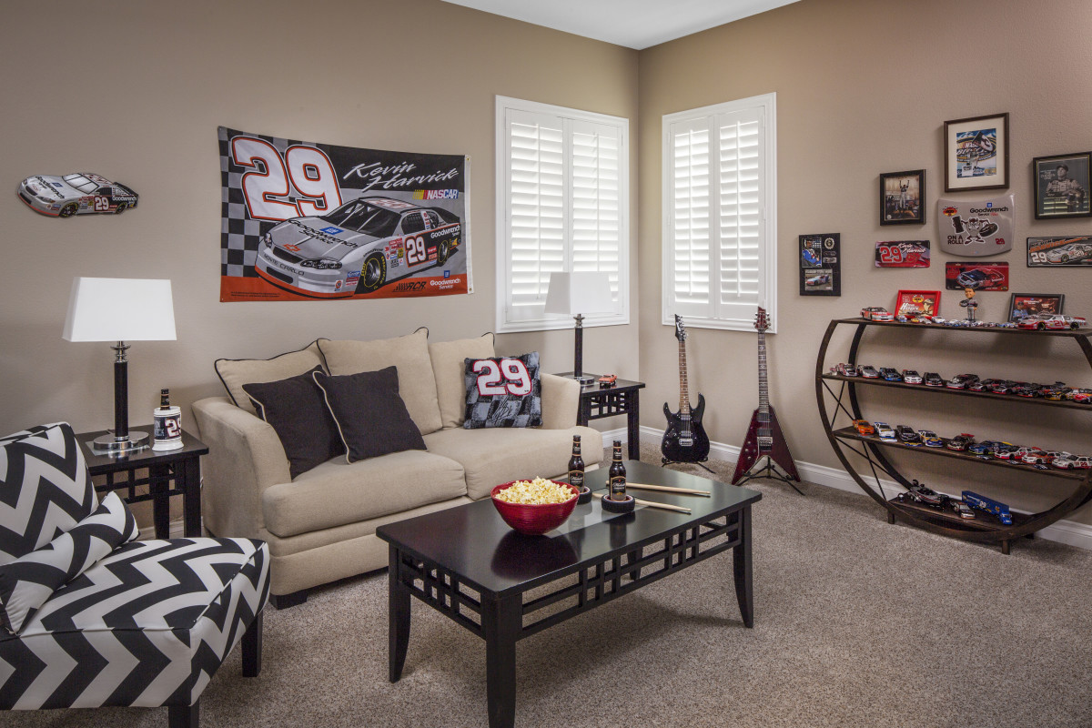 Atlanta man cave with shutters