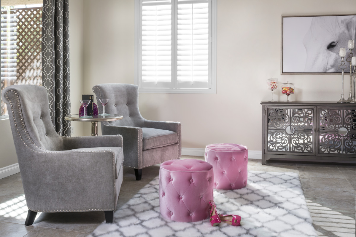 Atlanta pink living room with shutters