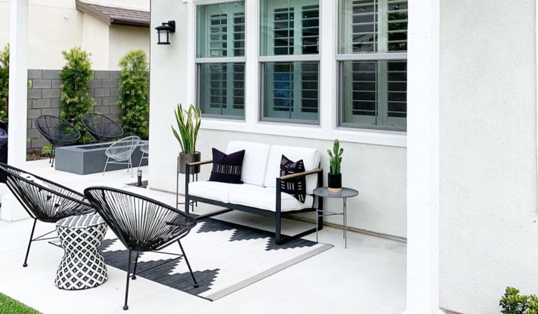 Backyard with plantation shutters