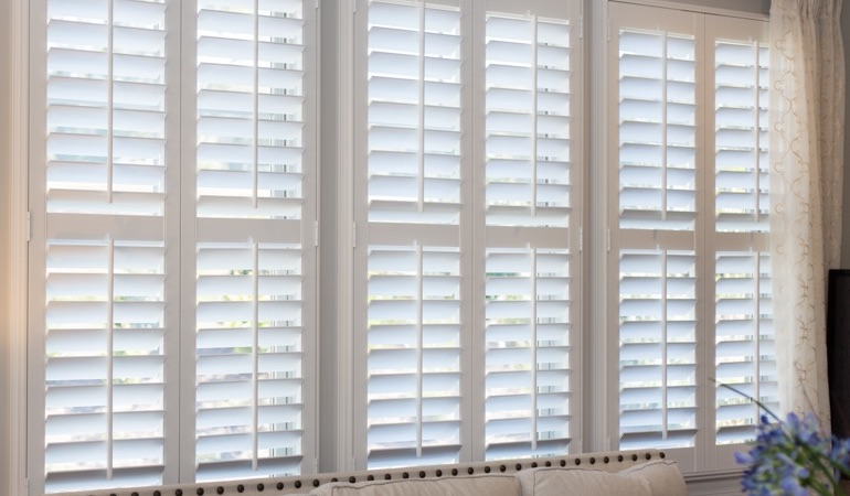 Faux wood plantation shutters in Atlanta