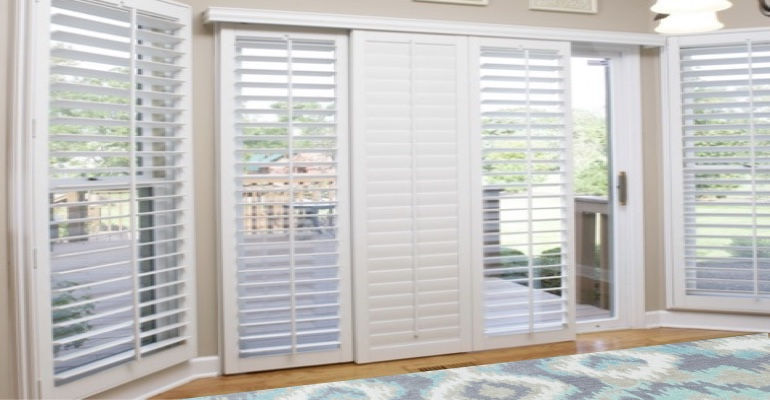 [Polywood|Plantation|Interior ]211] shutters on a sliding glass door in Atlanta