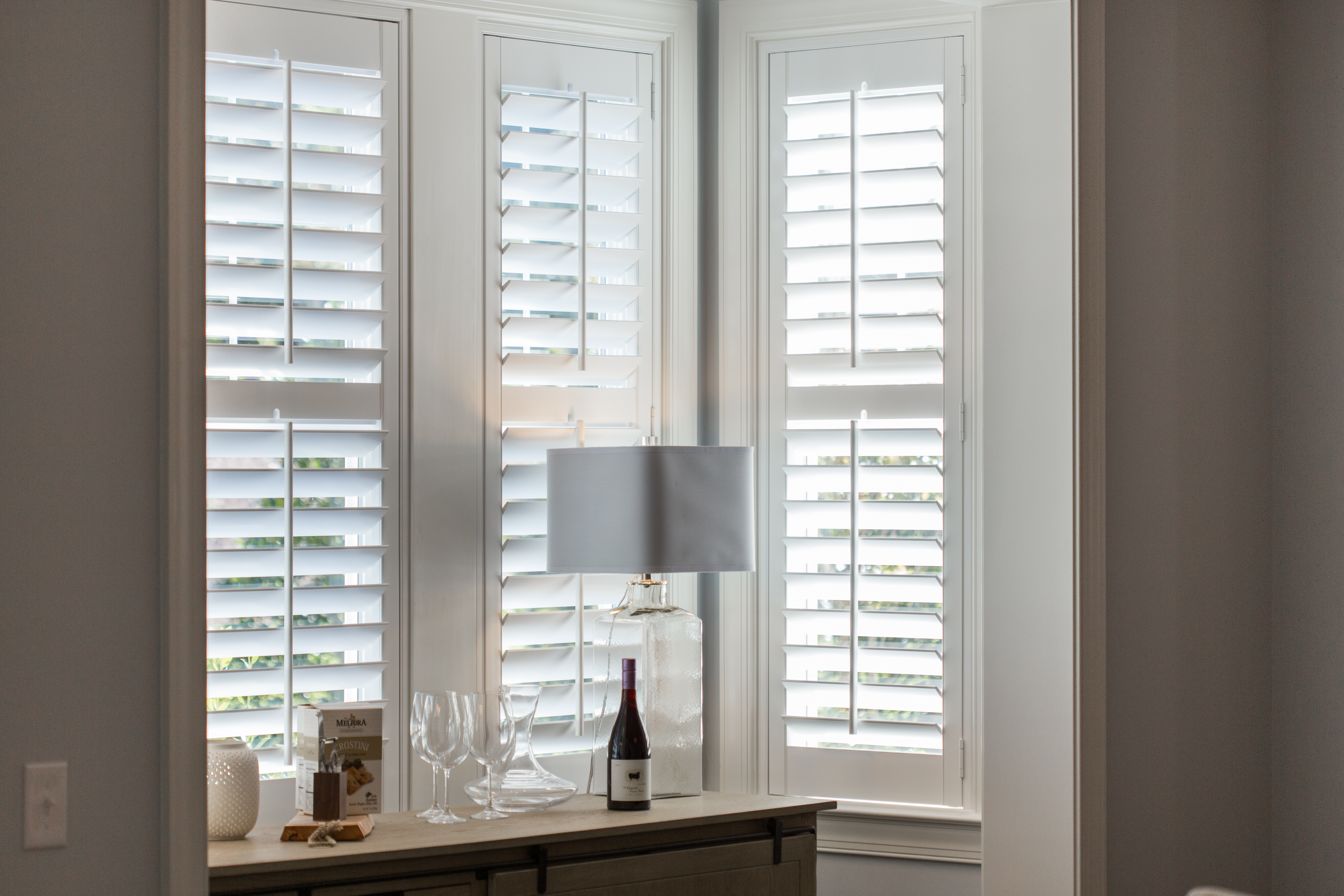 Plantation shutters in Atlanta alcove.