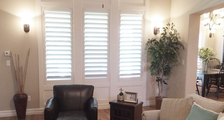 Atlanta living room white shutters