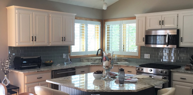Atlanta kitchen with shutters and appliances