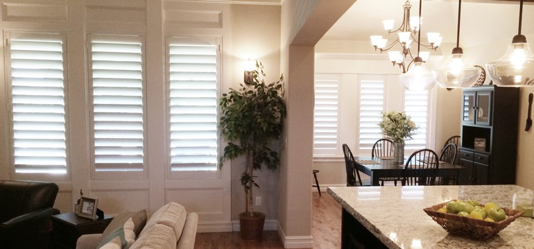 Atlanta shutters in kitchen and family room
