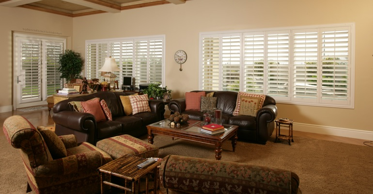 Atlanta family room with white shutters.
