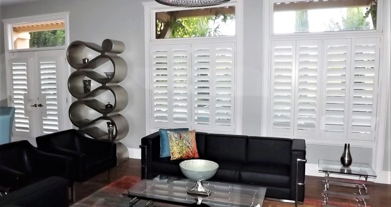Atlanta DIY shutters in living room.