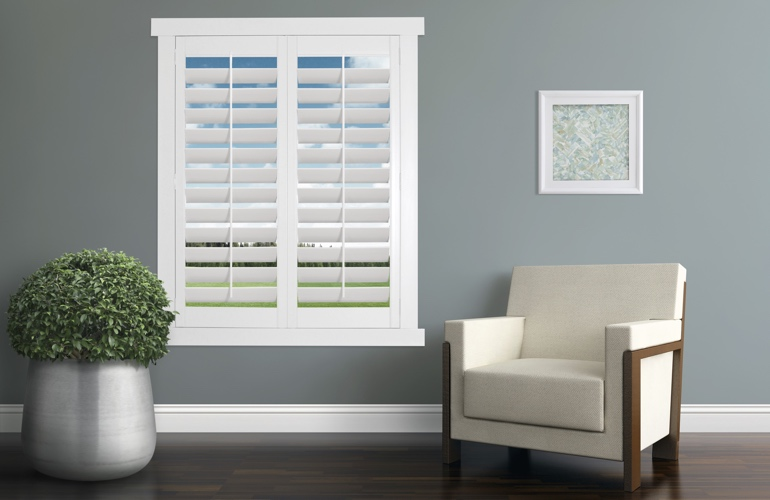 White plantation shutters in a contemporary room