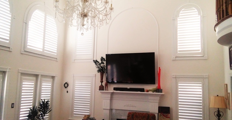 tall windows with shutters Atlanta tv room