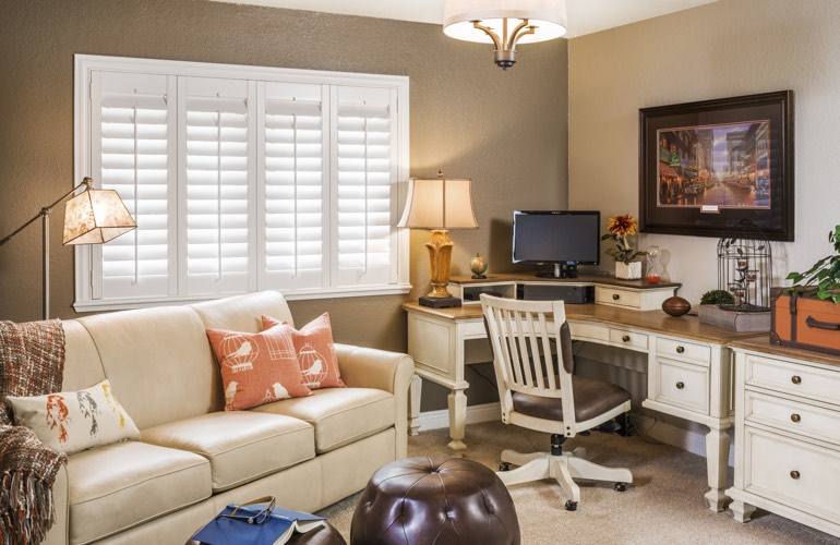 Atlanta home office with plantation window shutters.