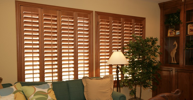 Hardwood shutters in Atlanta living room.