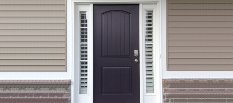 Entry Door Sidelight Shutters Next To Black Door In Atlanta, GA