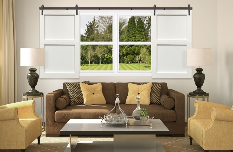 Hottest Window Treatment Trends In Atlanta: Sliding Barn Door Shutters